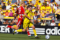 28 AUGUST 2010:  FC Dallas' Brek Shea and Danny O'Rourke of the Columbus Crew (5) during MLS soccer game between FC Dallas vs Columbus Crew at Crew Stadium in Columbus, Ohio on August 28, 2010.