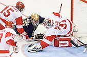Ryan Santana (BU - 15), Kyle Palmieri (Notre Dame - 10), Kieran Millan (BU - 31) - The University of Notre Dame Fighting Irish defeated the Boston University Terriers 3-0 on Tuesday, October 20, 2009, at Agganis Arena in Boston, Massachusetts.