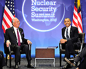 United States President Barack Obama holds bilateral meeting with Prime Minister Mohammed Najib Abdul Razak of Malaysia on the sidelines of the Nuclear Security Summit at the Washington Convention Center, Monday, April 12, 2010 in Washington, DC. .Credit: Ron Sachs / Pool via CNP