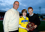 We Are Perth Forum Young Player of the Year Award to Stevie May (absent so collected by Liam Caddis) presented by Alistair & Blair Christie.Picture by Graeme Hart..Copyright Perthshire Picture Agency.Tel: 01738 623350  Mobile: 07990 594431