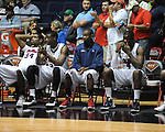 "The Ole Miss bench reacts late in overtime vs. Illinois State in a National Invitational Tournament game at the C.M. ""Tad"" Smith Coliseum in Oxford, Miss. on Wednesday, March 14, 2012. Illinois State won 96-93 in overtime. (AP Photo/Oxford Eagle, Bruce Newman)"