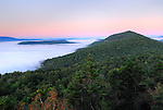 Dawn and morning fog, Adirondack Park, New York, USA