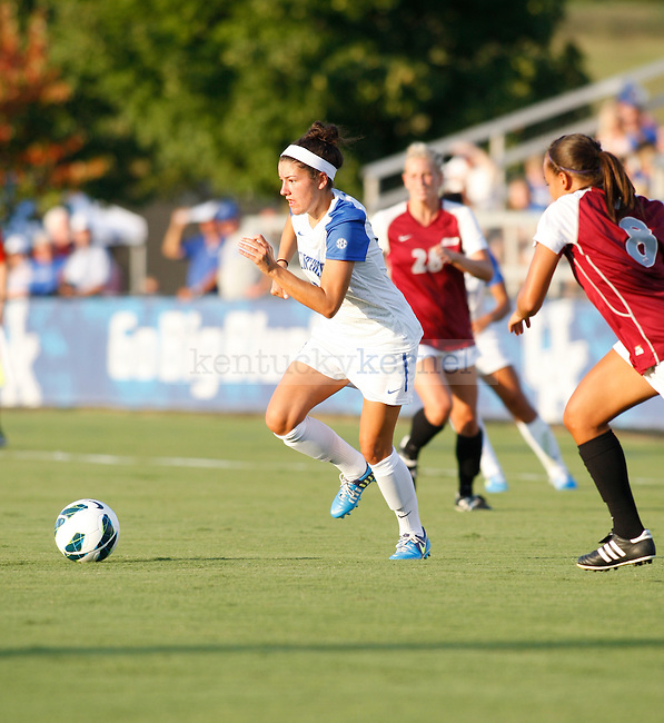 The UK Women's Soccer freshman Cara Ledman plays against Eastern Kentucky Colonels at UK Soccer Complex on Friday, Aug. 24, 2012. Photo by Scott Hannigan | Staff