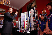 United States President Barack Obama talks with Ana Nieto (R) of Presidio, Texas, team leader of Team America Rocketry Challenge (TARC) along with teammates Janet Nieto (3nd R) and and Gwynelle Condino (2nd R) while touring student science fair projects on exhibt at the White House in Washington, D.C. on February 7, 2012.  Obama hosted the second White House Science Fair celebrating the student winners of science, technology, engineering and math (STEM) competitions from across the country. .Credit: Molly Riley / Pool via CNP