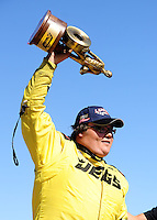 Sept. 6, 2010; Clermont, IN, USA; NHRA super comp driver Troy Coughlin Jr celebrates after winning the U.S. Nationals at O'Reilly Raceway Park at Indianapolis. Mandatory Credit: Mark J. Rebilas-