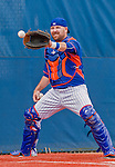 8 March 2015: New York Mets catcher Eric Langill warms up prior to a Spring Training game against the Boston Red Sox at Tradition Field in Port St. Lucie, Florida. The Mets fell to the Red Sox 6-3 in Grapefruit League play. Mandatory Credit: Ed Wolfstein Photo *** RAW (NEF) Image File Available ***
