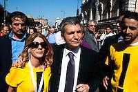 Roms 9 Aprile 2011.Manifestazione dei lavoratori precari per chiedere 'Diritti, welfare, maternità, pensione per tutti'..Nichi Vendola