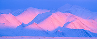 Alpenglow on the Philip Smith mountains of the Brooks range, Arctic, Alaska