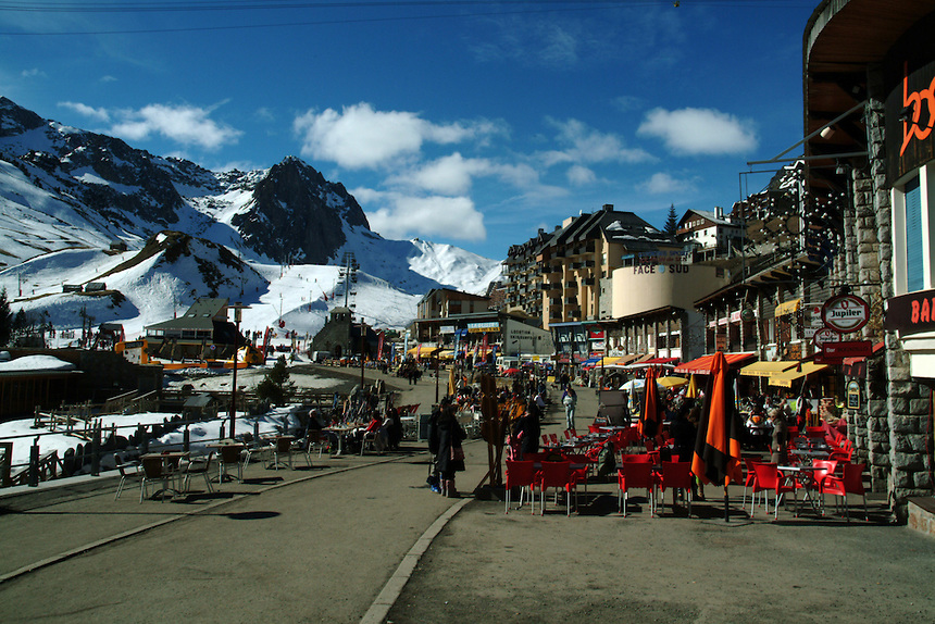 Ski village of La Mongie in the High Pyrenees, France. From here you can ride the teleferique (cable car) to the top of the Pic du Midi. Atop the mountain is the Pic du Midi Astronomical Observatory, engaged in, among other things, climate change research.