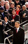 President Barack Obama waves to the crowd at the U.S. Capitol during his inauguration in Washington, D.C.