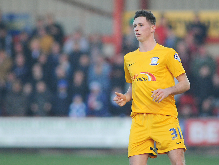 Preston North End's Alan Browne in action during todays match  <br /> <br /> Photographer Kevin Barnes/CameraSport<br /> <br /> Football - The Football League Sky Bet League One - Crewe Alexandra v Preston North End - Sunday 28th December 2014 - Alexandra Stadium - Crewe<br /> <br /> &copy; CameraSport - 43 Linden Ave. Countesthorpe. Leicester. England. LE8 5PG - Tel: +44 (0) 116 277 4147 - admin@camerasport.com - www.camerasport.com