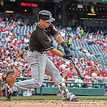14 May 2016: Miami Marlins catcher Jeff Mathis in action during the first game of a double-header against the Washington Nationals at Nationals Park in Washington, DC. The Nationals defeated the Marlins 6-4 in the afternoon matchup.  Mandatory Credit: Ed Wolfstein Photo *** RAW (NEF) Image File Available ***
