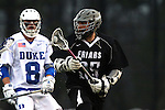 01 March 2015: Providence's Cole McCormack (35) and Duke's Jack Bruckner (8). The Duke University Blue Devils hosted the Providence College Friars on the West Turf Field at the Duke Athletic Field Complex in Durham, North Carolina in a 2015 NCAA Division I Men's Lacrosse match. Duke won the game 20-8.