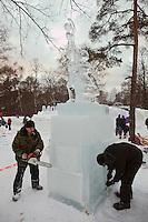 Moscow, Russia, 14/01/2012..Sculptors at work in Moroz City, or Frost City, an ice town constructed in Moscow's Sokolniki Park by a team of architects and ice sculptors. As well as ice sculptures the temporary town features a disco, hotel, fitness centre, post office and prison.