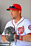 4 March 2012: Washington Nationals infielder Mark DeRosa stands in the dugout prior to a game against the Houston Astros at Space Coast Stadium in Viera, Florida. The Astros defeated the Nationals 10-2 in Grapefruit League action. Mandatory Credit: Ed Wolfstein Photo