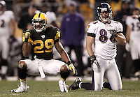 PITTSBURGH, PA - NOVEMBER 06:  Ryan Mundy #29 of the Pittsburgh Steelers celebrates following a failed third down conversion attempt by Dennis Pitta #88 of the Baltimore Ravens during the game on November 6, 2011 at Heinz Field in Pittsburgh, Pennsylvania.  (Photo by Jared Wickerham/Getty Images)