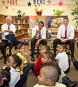 Chicago, Il - December 16, 2008 -- United States President-elect Barack Obama, center, answers a student's question as he and newly nominated Secretary of Education former Chicago School Chief Arne Duncan, right, and Vice President-elect Joseph Biden, left speak to schoolchildren at Dodge Renaissance Academy on Chicago's West Side on Tuesday, December 16, 2008..Credit: Ralf-Finn Hestoft - Pool via CNP