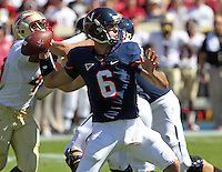 Oct 2, 2010; Charlottesville, VA, USA; Virginia Cavaliers quarterback Marc Verica (6) throws the ball during the game against the Florida State Seminoles at Scott Stadium. Florida State won 34-14.  Mandatory Credit: Andrew Shurtleff-