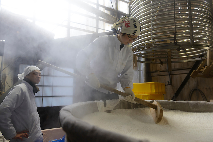 """Brewery owner Tsuji Soichiro and his sister Tsuji Makiko, Tsuji Honten Sake, Katsuyama town, Okayama Prefecture, Japan, February 1, 2014. Tsuji Honten was founded in 1804 and has been at the cultural centre of the town of Katsuyama for over two centuries. 34-year-old Tsuji Soichiro is the 7th generation brewery owner. His elder sister, Tsuji Maiko, is the """"toji"""" master brewer."""