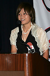 11 January 2008:  Mami Yamaguchi (Japan) of Florida State speaks to the audience after being awarded the 2007 Hermann Trophy.  The 2007 Hermann Trophy was presented to the NCAA Division I female and male players of the year by the Missouri Athletic Club in St. Louis, Missouri.