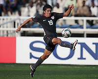 Vicor Chavez kicks the ball. US Men's National Team Under 17 defeated Malawi 1-0 in the second game of the FIFA 2009 Under-17 World Cup at Sani Abacha Stadium in Kano, Nigeria on October 29, 2009.