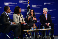 "Washington, DC - February 27, 2017: Attorney's General Karl Racine (D-DC), Lisa Madigan (D-Il) and Mark Herring (D-VA) participate in the ""States Defending Progress forum at the Center for American Progress, February 27, 2017, with.  (Photo by Don Baxter/Media Images International)"