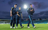 Picture by Allan McKenzie/SWpix.com - 16/05/2017 - Cricket - Royal London One-Day Cup - Yorkshire County Cricket Club v Leicestershire County Cricket Club - Headingley Cricket Ground, Leeds, England - Yorkshire's young players Matthew Waite, Ben Coad & Matthew Fisher elated at their efforts to help win the match against Leicestershire.
