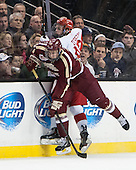 Kevin Hayes (BC - 12), Danny O'Regan (BU - 10) - The Boston College Eagles defeated the Boston University Terriers 3-1 (EN) in their opening round game of the 2014 Beanpot on Monday, February 3, 2014, at TD Garden in Boston, Massachusetts.