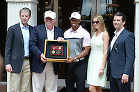 DORAL, FL - MARCH 05: Eric Trump, Donald Trump, Tiger Woods, Ivanka Trump and Donald Trump Jr. at the Tiger Woods Villa prior to the start of the World Golf Championships-Cadillac Championship at Trump National Doral on March 5, 2014 in Doral, Florida. Credit: mpi04/MediaPunch