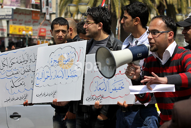 Palestinians participate protest against rising prices and taxes in the city of Nablus West Bank, Saturday, Mar. 31, 2012. Photo by Nedal Shtieh