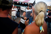 A man dressed as a mammogram machine talks to a crowd at the Testicle Festival at the Rock Creek Lodge in Clinton, MT.  The Rock Creek Lodge in Clinton, MT, has hosted the annual Testicle Festival since the early 1980s.  The four day festival and party revolves around the consumption of so-called Rocky Mountain Oysters, which are deep-fried bull testicles.