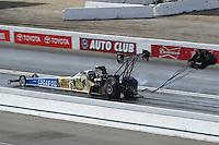 Nov 12, 2016; Pomona, CA, USA; NHRA top fuel driver Morgan Lucas during qualifying for the Auto Club Finals at Auto Club Raceway at Pomona. Mandatory Credit: Mark J. Rebilas-USA TODAY Sports