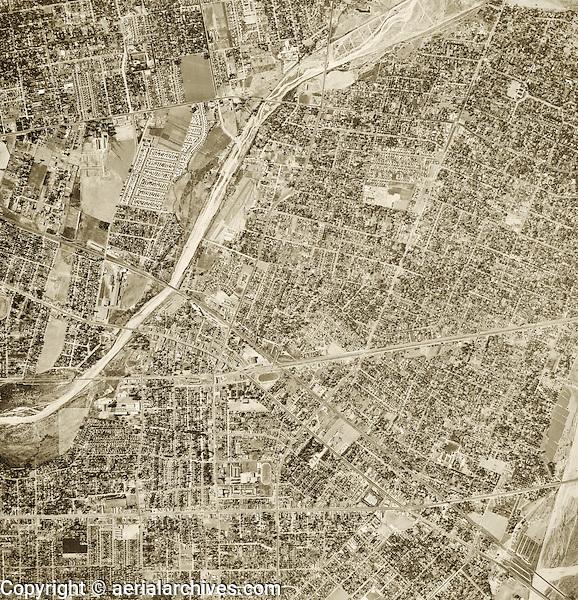 historical aerial photograph El Monte, Los Angeles county, California, 1952