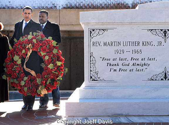 ATLANTA, GA - January 20, 2008:  Senator and Democratic Presidential candidate Barack Obama lays a wreath at the grave of Dr. Martin Luther King, Jr and Coretta Scott King. He was joined by King's nephew Isaac Farris, Jr.