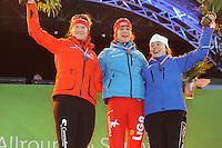 SCHAATSEN: AMSTERDAM: Olympisch Stadion, 28-02-2014, KPN NK Sprint/Allround, Coolste Baan van Nederland, podium Dames Sprint 500m, Lotte van Beek, Margot Boer, Floor van den Brandt, ©foto Martin de Jong