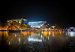 "Canvas Print of Husky Stadium. Photo taken from Lake Washington during historic farewell game before major stadium renovation, Nov.5, 2011. Available in 16x24"" or 24x36""Photo by Rob Sumner / Red Box Pictures."
