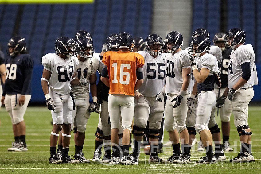SAN ANTONIO, TX - APRIL 9, 2011: The University of Texas at San Antonio Roadrunners Football team compete in the Inaugural Football Fiesta Spring Game presented by Health Texas at the Alamodome. (Photo by Jeff Huehn)