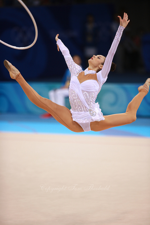 August 23, 2008; Beijing, China; Rhythmic gymnast Anna Bessonova of Ukraine split leaps to re-catch hoop on way to winning bronze in the Individual All-Around final at 2008 Beijing Olympics..(©) Copyright 2008 Tom Theobald