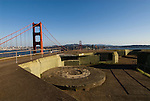 California: Golden Gate Bridge, view of Golden Gate Bridge and city from WW II gun emplacements in  Marin Headlands.  Photo # 3-casanf78391. Photo copyright Lee Foster.
