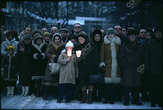 Silent vigil against martial law imposed on December 13 by the government of General Wojciech Jaruzelski and meant to contain Solidarity, the union and political protest movement led by Lech Walesa. Warsaw, Poland, December 1981