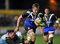 Dominic Day goes on the charge. Aviva Premiership match, between Bath Rugby and Northampton Saints on September 14, 2012 at the Recreation Ground in Bath, England. Photo by: Patrick Khachfe / Onside Images