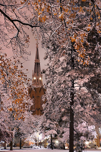 Basilica spire on a snowy Thanksgiving night, Nov. 22, 2007