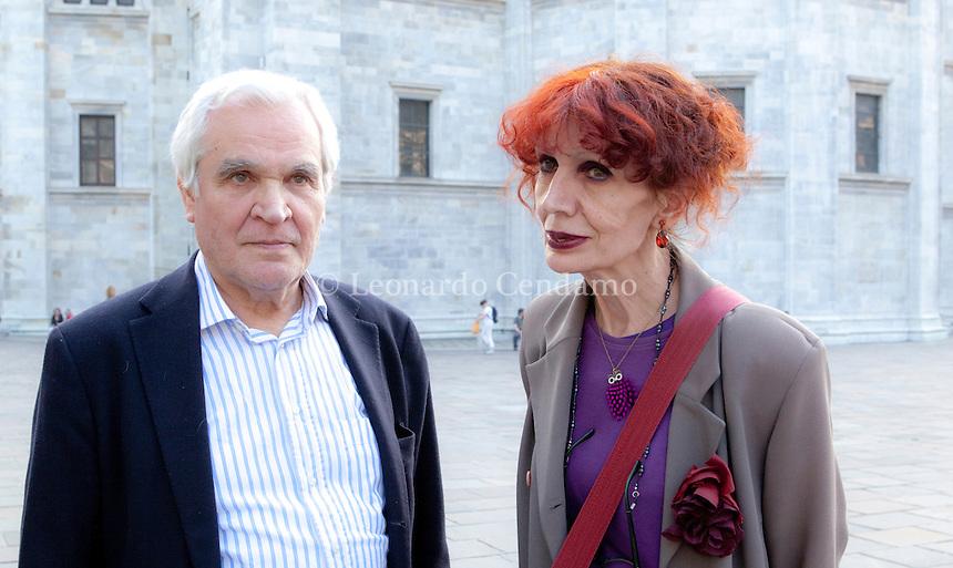 Nicola Crocetti italian publishing and greek writer Ziranna Zateli. Como, Teatro Sociale 18 aprile 2013. © Leonardo Cendamo / rosebud2