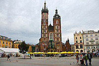 St. Mary's Basilica dominates one corner of the Main Market Square in Krakow, Poland