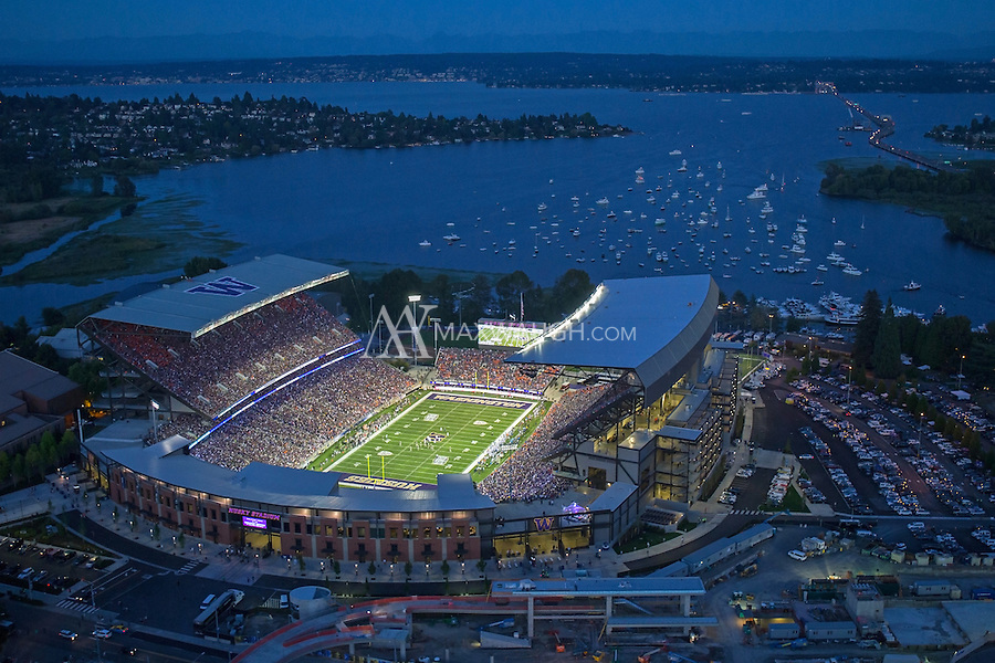 This photo was taken on Opening Night at the new Husky Stadium, during the game against the Boise State Broncos on August 31, 2013.<br /> <br /> This image is available as a Limited Edition metallic print measuring 30&quot; x 20&quot; (select the metallic print from the price options when you add to cart).  You may also purchase smaller lustre prints or license it for commercial use.<br /> <br /> *No, the watermark will not appear on the final image!