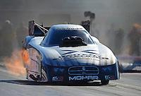 Oct. 26, 2012; Las Vegas, NV, USA: NHRA funny car driver Jack Beckman during qualifying for the Big O Tires Nationals at The Strip in Las Vegas. Mandatory Credit: Mark J. Rebilas-