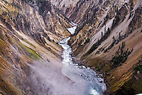 Steam rising in the foreground, the Yellowstone River carves its way down Yellowstone's dramatic Grand Canyon.