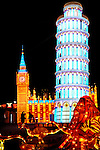 Chinese Lantern Festival in Toronto. Pisa tower and House of Parliament in London symbols of Italy and England. Colorful magnificent illumination glowing at night. Ontario Place, Toronto, Ontario, Canada 2008.