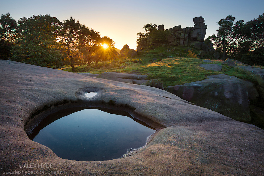 Robin Hood's Stride, an outcrop of gritstone, photographed at sunrise. Peak District National Park, Derbyshire. September