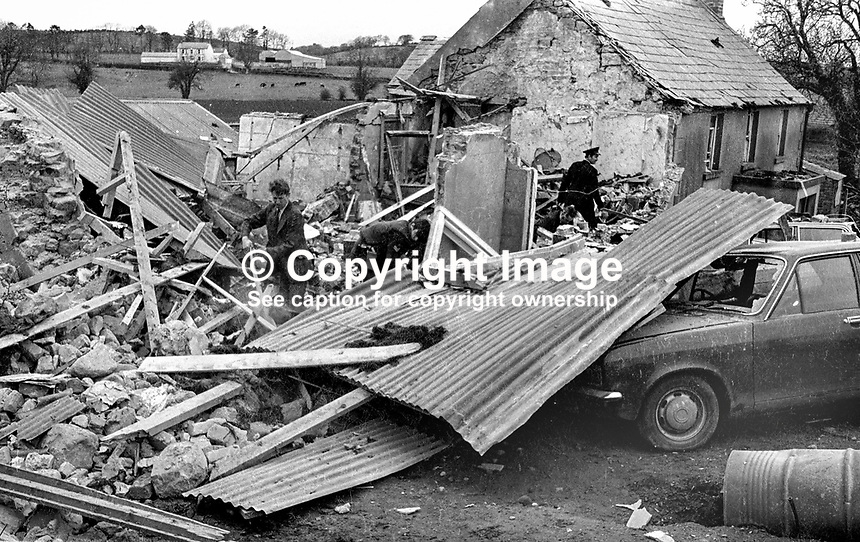 Scene of explosion at Killyliss, midway between Dungannon &amp; Ballygawley, Co Tyrone, in which Mrs Marion Bowen, 8 months pregnant, and her two brothers Seamus &amp; Michael McKenna were killed. Mrs Bowen had met up with her brothers at the house which they were renovating for her and her husband. It had been unoccupied for about a year. The bombing was subsequently admitted by the Protestant Action Force, a cover name for the UVF. 17th April 1975. 197504170439b.<br />